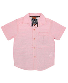Super Young Half Sleeves Linen Dobby Shirt - Pink