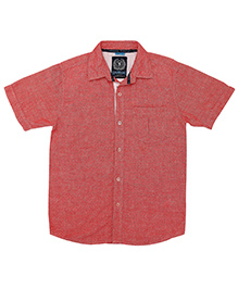 Super Young Half Sleeves Linen Dobby Shirt - Red