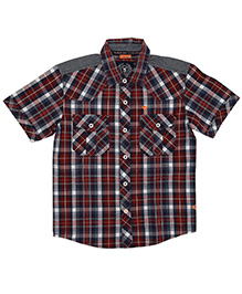 Super Young Half Sleeves Big Checks Print Shirt - Red