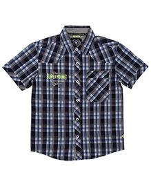 Super Young Half Sleeves Big Checks Print Shirt - Navy Blue