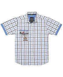 Super Young Half Sleeves Checks Print Shirt - White