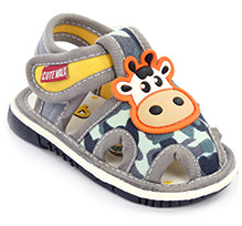 Cute Walk Baby Sandals Velcro Closure - Cow Face Applique