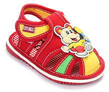 Cute Walk Baby Sandal Velcro Closure - Mouse Applique
