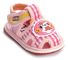 Cute Walk Baby Sandal Velcro Closure - Kitty Applique