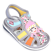 Cute Walk Baby Sandals Velcro Closure - Baby Girl Applique