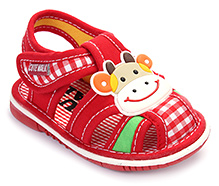 Cute Walk Baby Sandal Velcro Closure - Cow Face Applique