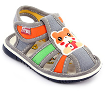 Cute Walk Baby Sandal Velcro Closure - Bear Patch