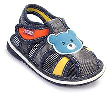 Cute Walk Baby Sandals Velcro Closure - Teddy Applique