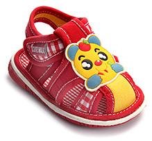 Cute Walk Baby Sandals Velcro Closure - Owl Applique