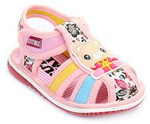Cute Walk Baby Sandals Velcro Closure - Bear Applique