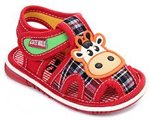 Cute Walk Baby Sandals Velcro Closure - Cow Face Applique
