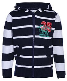 Babyhug Full Sleeve Hooded Sweater - Stripes