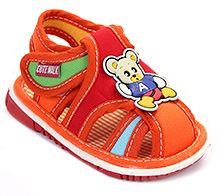 Cute Walk Baby Sandals Velcro Closure - Bear Applique