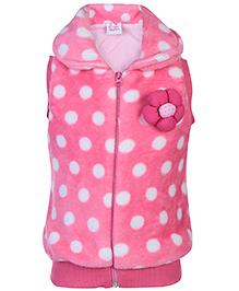 Little Kangaroos Sleeveless Fleece Jacket - Floral Applique