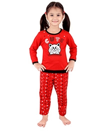 punkster Full Sleeves Night Suit Red - Cute Print