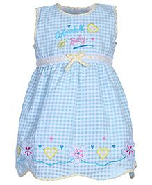 Babyhug Sleeveless Frock Colourful Baby Embroidery - Aqua Blue