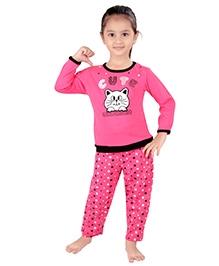 punkster Full Sleeves Night Suit Pink - Cute Print