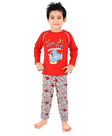 punkster Full Sleeves Night Suit Printed - Red