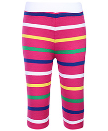 Babyhug Leggings Stripes Print - Dark Pink