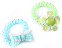 Addon Rubber Bands Green And Blue - 1 Pair - Free Size