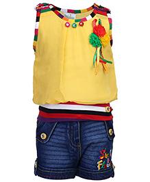 Babyhug Sleeveless  Top And Denim Shorts - Floral Applique