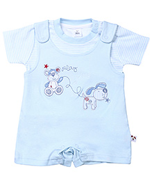 ToffyHouse Dungaree Style Romper With T-Shirt - Play Time Embroidery