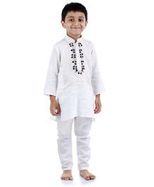 Babyhug Full Sleeve Kurta And Pajama - Front Embroidery