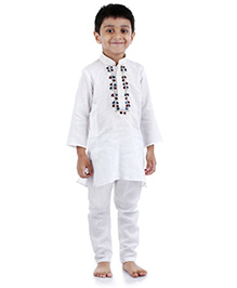 Babyhug Full Sleeve Kurta And Pajama - Front Embroidery