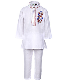 Babyhug Full Sleeve Kurta And Pajama Embroidered Patch - White