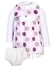 Little Kangaroo Sleeveless Frock With Inner T-Shirt - Polka Dots