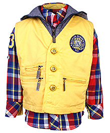 Noddy Full Sleeve Shirt With Hooded Jacket - Checks