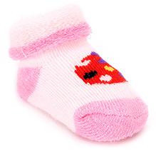 Cute Walk Sock Style Booties - Strawberry Print