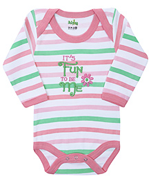 Babyhug Full Sleeves Onesies Stripe Pattern - Embroidery