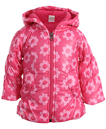 Little Kangaroos Quilted Jacket Pink - Floral Print