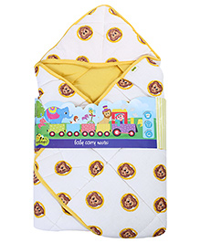 Beebop Hooded Wrapper Lion Print - Off White And Yellow