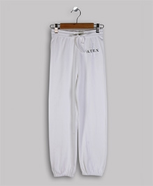 ATUN Track Pant With Drawstring - White And Silver