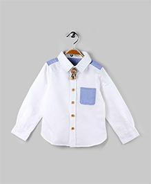 White & Blue Contrast Pocket Shirt
