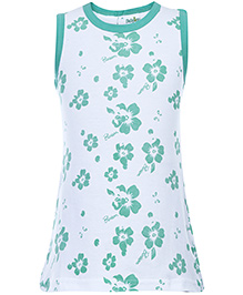 Babyhug Spaghetti Strap A Line Frock Blossom Flower Print - White And Green