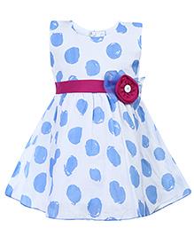 Babyhug Sleeveless Frock Floral Applique - Polka Dot Print