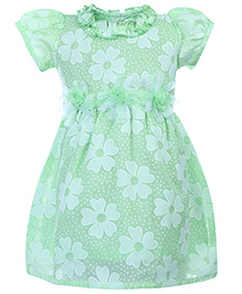 Babyhug Puff Sleeves Frock - Floral Applique