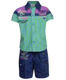 Formula 1 Half Sleeves Shirt And Shorts Checks Print - Green And Blue