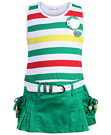 Peppermint Sleeveless Frock With Belt - Stripes