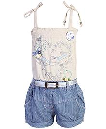 Peppermint Jumpsuit With Belt - Floral Print