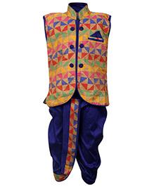 Babyhug Sleeveless Kurta And Dhoti - Multi Colour