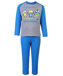 punkster Full Sleeves Night Suit Printed - Blue