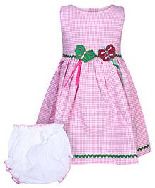 Babyhug Check Print Sleeveless Dress With Bloomer