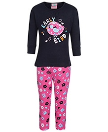 punkster Night Suit Printed - Pink And Black