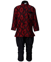 Babyhug Full Sleeves Kurta And Jodhpuri Pajama - Maroon