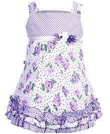 Peppermint Singlet Frock Purple - Floral Print