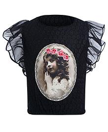 Leo N Babes Flutter Sleeve Top - Crochet Work